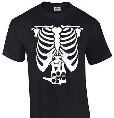Pregnant X-Ray Skeleton T-shirt Beer Belly Halloween shirt funny party tee