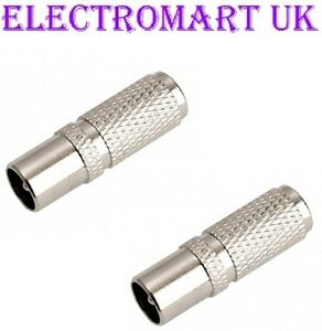 2 X EASY FIT SCREW ON TV AERIAL COAX PLUG MALE CONNECTORS RG6 CT100 WF100 ETC