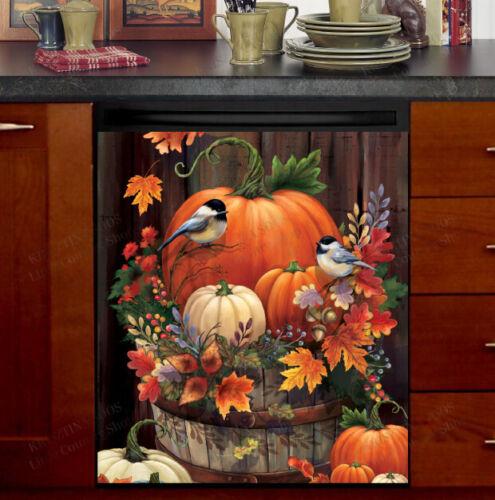Kitchen Dishwasher Magnet Cover Design - Autumn Pumpkin Chickadees