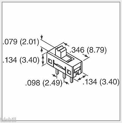Pk25 3-terminal Pin Pcb Mount 2-position Spdt Tiny Sub-miniature Slide Switches