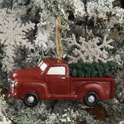 Little Red Truck With Tree Christmas Ornament with Jute String - Farmhouse
