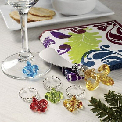 21 PC Hostess Set Stainless steel spreader Wine Glass Charms Napkins Deluxe NEW