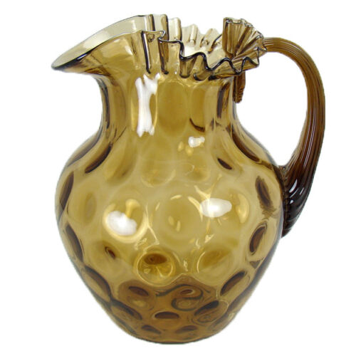 Hand Blown Glass Water Pitcher with Ruffled Top and Inverted  Thumbprint Pattern
