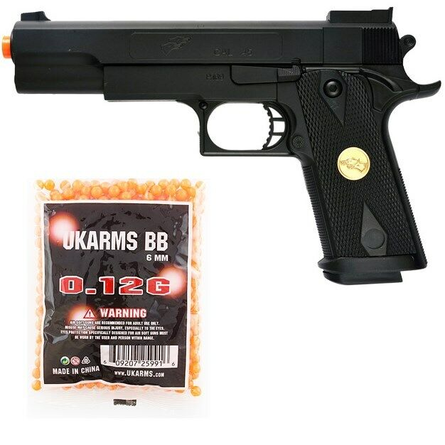 DOUBLE EAGLE FULL SIZE M1911 SPRING AIRSOFT PISTOL HAND GUN w/ 1,000 6mm BB BBs