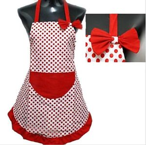 APRON RED POLKA DOT VINTAGE SHABBY FLORAL FRILLY RETRO 1950'S SUGARCRAFT APRON