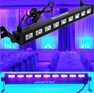 LED Party UV Bar 9 x 3W Profi Schwarzlicht Scheinwerfer Lichtleiste
