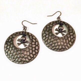 NEW Large Pewter Silver Hoop Skull & Crossbone Earrings. Exc Cond