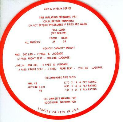 1968-69 Amx/javelin Tire Pressure Decal
