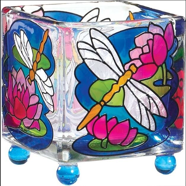 Joan Baker DRAGONFLY & WATERLILIES Tealight  Square Painted Glass Votive Holder