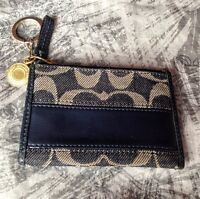 Coach Signature Denim/Navy/Gold Wallet Coin Purse - Pre-owned