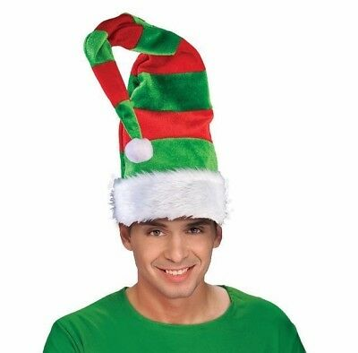 TALL RED & GREEN STRIPE BENDABLE ELF HAT Long Adult Christmas Santa Cap Dr - Long Elf Hat
