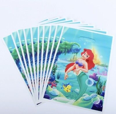Little Mermaid Party Themes (NEW Pack of 10 Girls Ariel Little Mermaid Themed Party Loot Bag Lolly Bags)