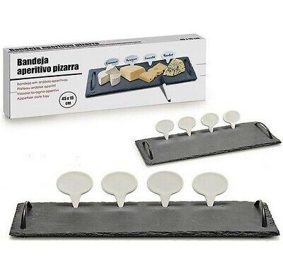 Set aperitivo tabla bandeja de Pizarra con asas y 4 carteles, 45...