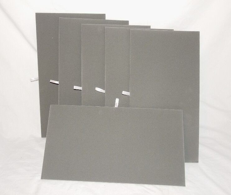 """LOT OF 6 GRAY VELVET FLAT PADS FOR TRAYS OR DISPLAY BOARDS 14 1/8"""" x 7 5/8""""."""
