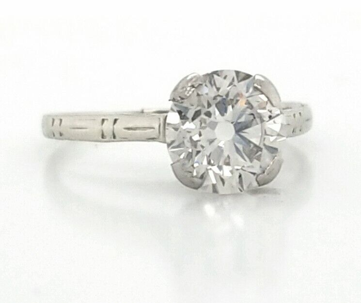 18k white gold vintage engagement  ring 1.68ct natural euro cut round diamond