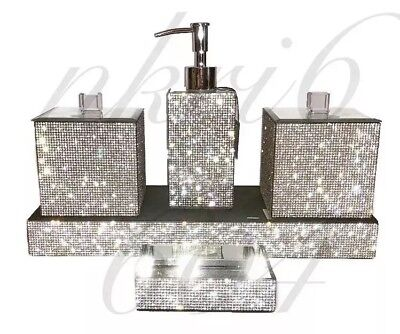 Crystal Bathroom Accessories (Bella Lux RHINESTONE CRYSTAL BATHROOM ACCESSORIES.   SET OF 5.   GEORGOUS )
