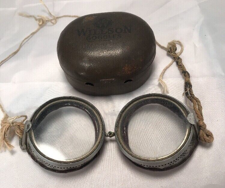 Antique Willson Safety Glasses Goggles Vtg Retro STEAMPUNK Spectacles 1920s USA