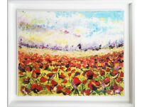 Superb genuine original painting titled 'Poppy Field, Cornwall' by Joe Armstrong