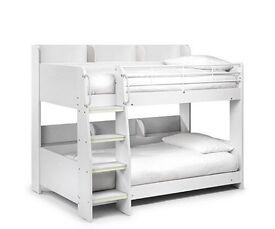 White single bunk beds 2x mattresses