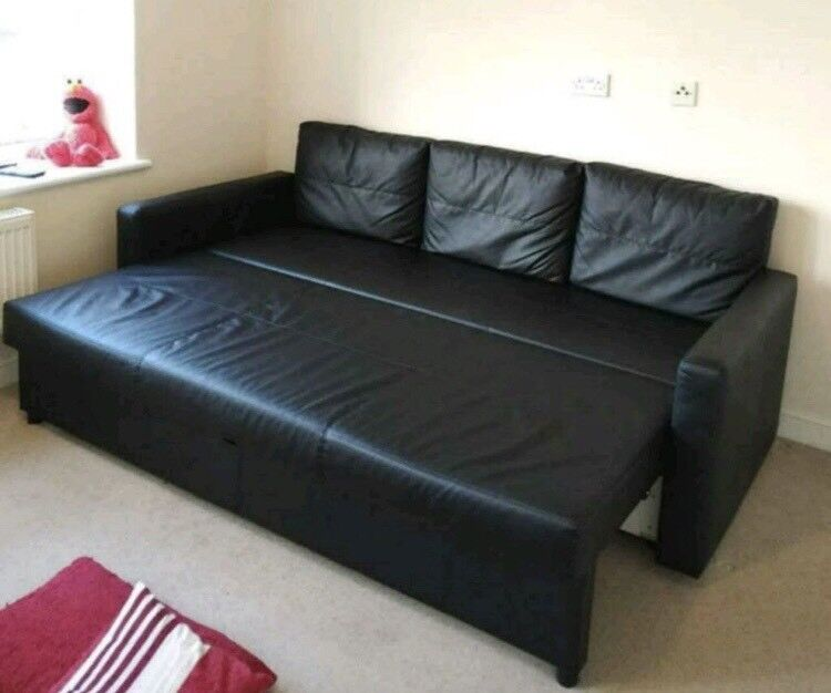 Great IKEA FRIHETEN 3 SEATER BLACK LEATHER SOFA BED GREAT CONDITION CAN DELIVER