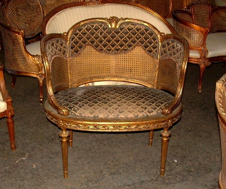 19th C. French Louis XVI Cane Corbeille Settee Chair~