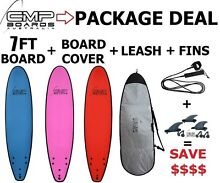 7ft SOFTBOARD Surfboard PACKAGE  Bag, Fins, Leash LEARN TO SURF Erina Gosford Area Preview