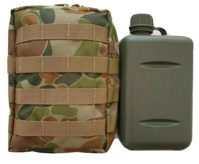 TACTICAL 2L SOUTH AFRICAN MILITARY CANTEEN  + AUSCAM 900D MOLLE POUCH ARMY