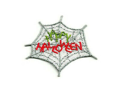 Happy Halloween - Spider Web - Spider - Crafts - Embroidered Iron On Patch ()
