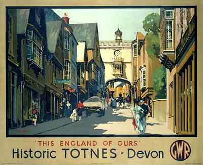 Vintage Railway Advertising  rail travel poster  A4 RE PRINT Totnes