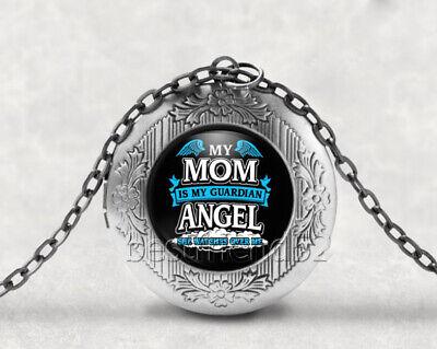 Mom Guardian Angel Cabochon LOCKET Pendant Silver Chain Necklace USA Shipper #14
