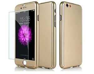 Gold iPhone 7 Plus hard case with tempered glass