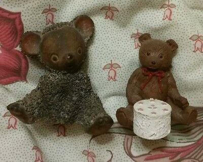 LOT OF 2 VINTAGE MINIATURE BROWN BEARS