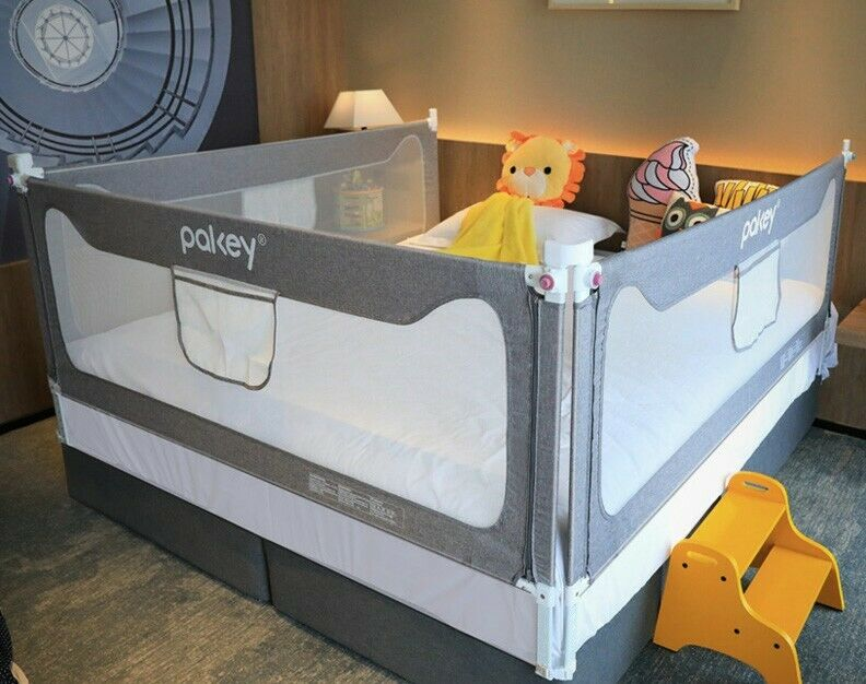 Bed Rail Guard Vertical Collapsible for Baby Toddlers Queen Bed -3 pieces