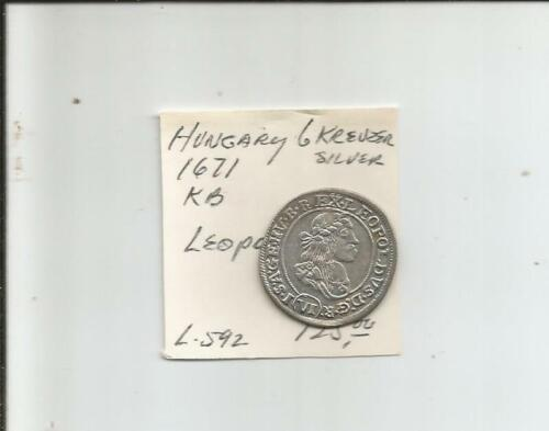 Hungary 6 kreuzer from 1671. SILVER. King Leopold the Hogmouth. SHARP. XF+++