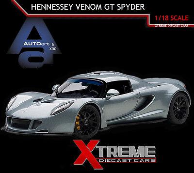 Autoart 75402 1 18 Hennessey Venom Gt Spyder Silver Super Car