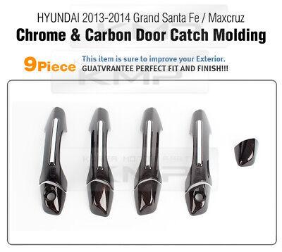 Carbon Door handle Trim Catch Cover Set For HYUNDAI 2013-2016 Grand Santa Fe
