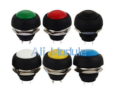 6pcs Mini 12mm Waterproof Momentary Onoff Push Button Round Switch Am