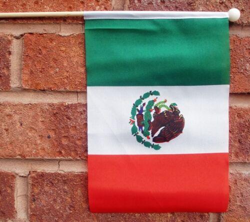 "MEXICO HAND WAVING FLAG medium 9"" X 6"" wooden pole flags MEXICAN"