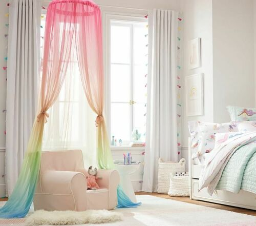 Pottery Barn Kids Rainbow Ombre Canopy Brand New Bargain Price