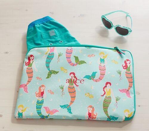 Pottery Barn Kids Aqua Mermaid Wet Dry Bag Kit Luggage Sl...