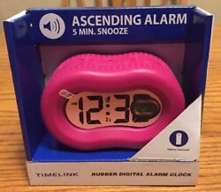 TIMELINK ❤️NIB Rubber Alarm Clock Digital Easy To Read At Night Pink
