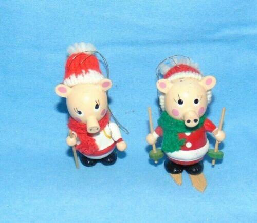 Pig Christmas Ornaments Wood Vintage Skier Hiker