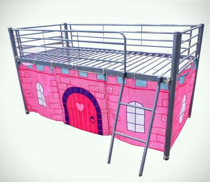Mid sleeper metal bed frame with underbed curtain.   in Hartlepool ...