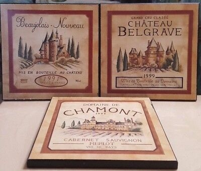 Castle French Wine - French Country France Wine Castles Chateau Wineries Wood Art Decor ~ set of 3