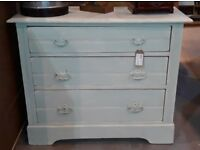Distressed Pine Chest Of Three Drawers Painted Light Peppermint Over White - Shabby Chic