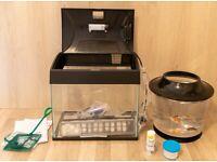 brand new 20 litres aquarium + 9 litres aquarium + 3 comet tailed goldfish