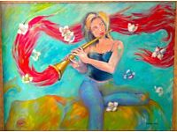 Beautiful large original framed painting, The Flute player