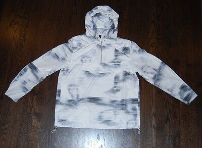 Men's H&M Divided windbreaker gray & white $50 price tag NWT light and hooded