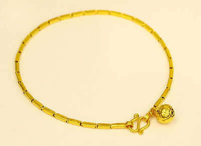 22K Solid Gold box baht bracelet handmade from Thailand 7.3