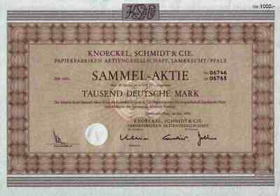 Knoeckel Schmidt & Cie Papierfabriken 1976 Lamprecht Bad Dürkheim Pfalz 1000 DM